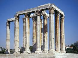 ancient greek art architecture facts. remains of the temple olympian zeus, athens, greece. ancient greek art architecture facts