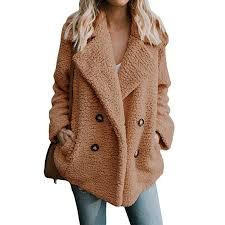 2019 women plus size faux fur jacket coat winter pockets teddy coat female plush overcoat casual wool outerwear from huiwu 28 5 dhgate com