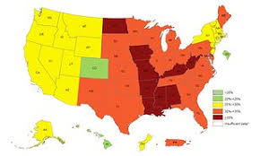 Obesity Chart In America Obesity Map Reveals More Than 35 Percent Of People In Nine