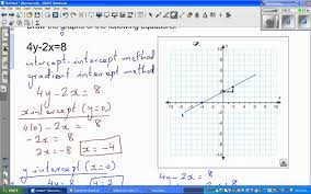 graphing equation of a line of equations 4y 2x 8 and 2y 3x 6