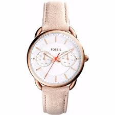 fossil tailor women s white dial leather band watch es4007