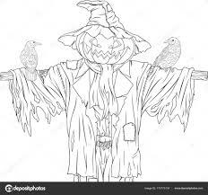 Scarecrow Voor Halloween Met Kraaien Stockvector Andreymakurin