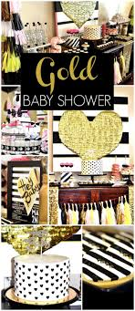 Love this gold, black and white modern baby shower! See more party ideas at