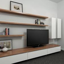 Wall Units, Entertainment Shelving Units Wall Mounted Entertainment Center  White Long Tv Stand With Three