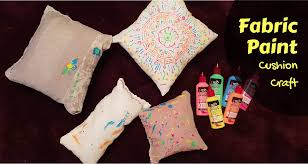 fabric paint cushion craft upcycled pillowcases