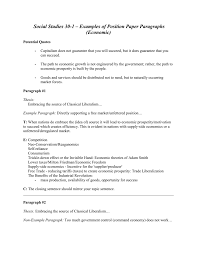 social examples of position paper paragraphs economic