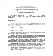 cross purchase agreement template