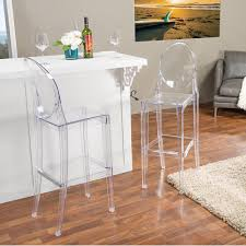 Alvie Clear Finished Plastic 2 Piece Bar Stool Set