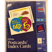 Avery Postcards Index Cards White 200 Pack