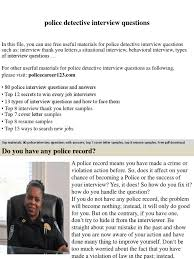 Police Detective Interview Questions Job Interview Interview