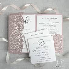 Sample Diy Set Laser Cut Misty Rose Blush Wedding Invitations With Envelopes Pocket We Heart Do Day Invite Evening Invite Guest Information Rsvp