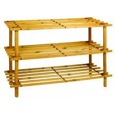 3 tier wooden shoe rack