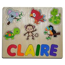 Rainforest Animal Friends Personalized Wooden Name Puzzle ...