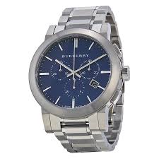 burberry bu9363 chronograph blue dial stainless steel men s watch