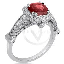 antique style cushion cut ruby diamonds three sided enement ring ru3200