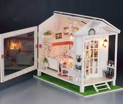diy led light wooden dollhouse miniatures beach house seaview bay chalet kit in