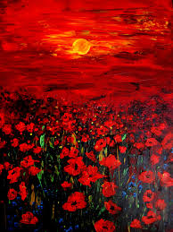 canvas print of original oil painting poppy field sunset with poppies signed red