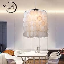 diy modern white natural seashell pendant lamps e14 led shell lighting for dining room living room
