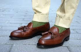brown leather tassel loafers green socks