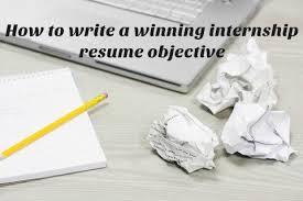 Sample Internship Resume Objective