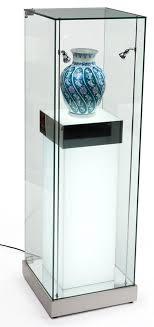 16 pedestal display case w cabinet base locking drawer led lighted glass display case