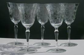 goblet wine glasses vintage glass wine glasses or water goblets etched wheel cut daisy optic pattern waterford crystal goblet wine glasses