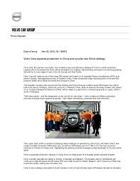 new car press releaseVolvo shifts production to China  Press Release