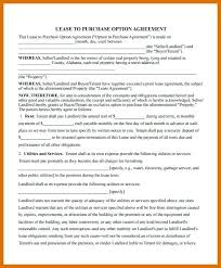 Purchase Agreement Samples Lease Agreement With Option To Purchase Real Estate Sample Contract