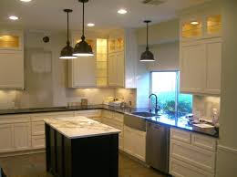 fascinating kitchen lighting ideas with 3 pendant lamps and recessed lighting