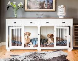 Dog crates furniture style Cage Custom Hardwood Double Dog Kennel Furniture With Drawers Etsy Dog Crate Furniture Etsy