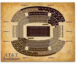 At T Stadium Football Seating Chart Art Print 11x14 Unframed
