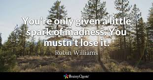 Robin Williams Quotes Adorable You're Only Given A Little Spark Of Madness You Mustn't Lose It