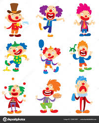 clown character vector performing diffe fun activities cartoon ilrations funny happy costume joker makeup and carnival