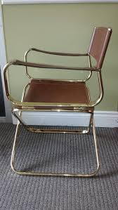 mid century italian designed leather folding director s chair by arrben circa 1970 brown