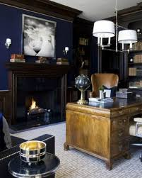 office man cave ideas. Brilliant Cave Navy Wall With Chestnut Furniture For Mens Office  Cool Man Cave Ideas To Office