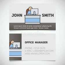 business card office business card print template with office manager logo stock vector