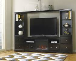 Shay Black Metal Wood Glass Entertainment Center W Fireplace