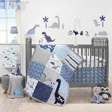 dinosaur 3 piece crib bedding set blue