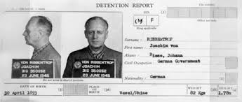 joachim von ribbentrop  small card titled detention report contains mugshots of ribbentrop and other statistical information
