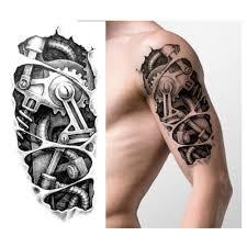 временные татуировки черный механическая рука поддельные наклейки