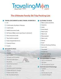 Packing For Vacation Lists The Ultimate Family Ski Trip Packing List Downloadable List