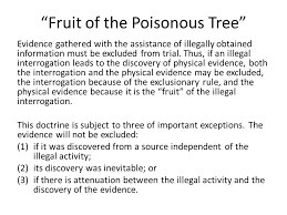 BLAW 108 CRIMINAL PROCEDURE Arrest Step 1 Is There Probable Fruit Of Poisonous Tree Doctrine Definition