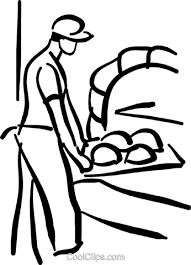 オーブンでパンを入れてパン ロイヤリティ無料ベクタークリップアート