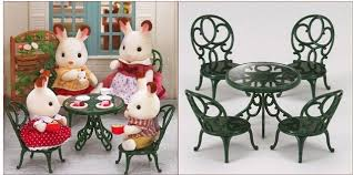 Kids dollhouse furniture Wooden Toy New Sylvanian Families Green Table Chairs Set Without Dolls Miniature Dollhouse Furniture Kids Pretend Toys Parenting New Sylvanian Families Green Table Chairs Set Without Dolls