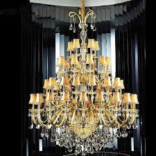 30 or 48 lights church large led chandelier pendant lamps star hotel big modern crystal chandelier led res de cristal lampshade large chandelier