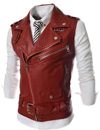 2019 whole leather motorcycle vest harley mens black leather vest red waistcoat steampunk rock slim fit zipper sleeveless jacket l from peay