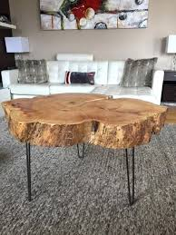 irregular shaped coffee table natural wood table stump coffee table with hairpin legs large live edge