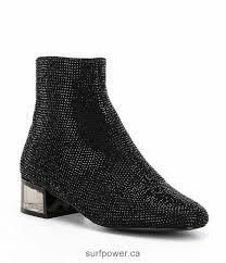 aldo sparkle rhinestone block heel booties women black
