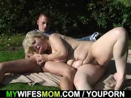 Mother in law ride cock outdoors