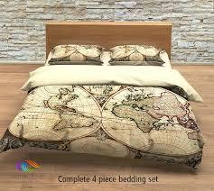 full image for vintage map bedding vintage old map duvet cover antique map queen king vintage